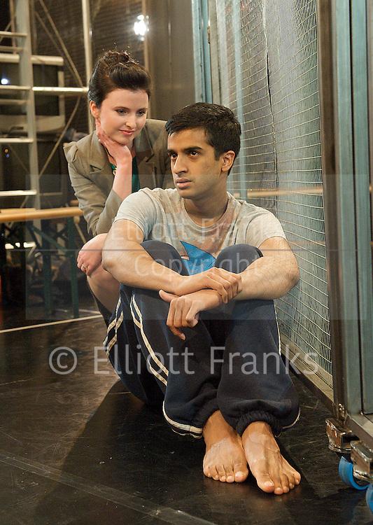Guantanamo Boy <br /> by Anna Perera<br /> at Stratford Circus, London, Great Britain <br /> 27th January 2012 <br /> <br /> Hamza Jeetooa (as Khalid)<br /> <br /> Jonny Leigh Wright (as Holgy)<br /> Ailish Symons (as interrogator)<br /> <br /> <br /> Photograph by Elliott Franks
