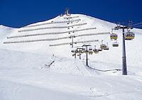 Italy, South Tyrol, Dolomites, Val di Gardena, skiing area, ski lift, avalanche protection construction
