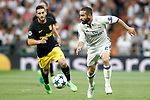 Real Madrid's Dani Carvajal (r) and Atletico de Madrid's Koke Resurrecccion during Champions League 2016/2017 Semi-finals 1st leg match. May 2,2017. (ALTERPHOTOS/Acero)