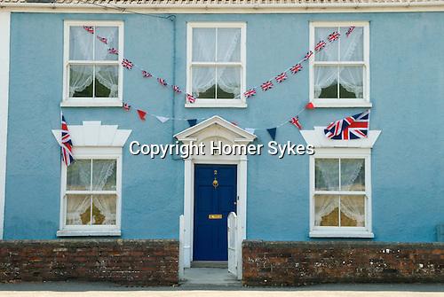 Union jack flags Bunting house in Axebridge Somerset UK
