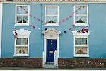 Union jack flags Bunting house in Axebridge Somerset UK