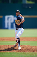 TJ Wachter (28) of P27 Academy in Shoreham, NY during the Perfect Game National Showcase at Hoover Metropolitan Stadium on June 20, 2020 in Hoover, Alabama. (Mike Janes/Four Seam Images)
