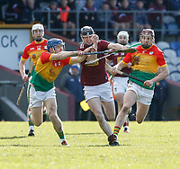 8th March 2020; TEG Cusack Park, Mullingar, Westmeath, Ireland; Allianz League Division 1 Hurling, Westmeath versus Carlow; Jack Galvin (Westmeath) holds off a challenge from Michael Doyle (Carlow)