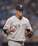 Masahiro Tanaka (Yankees),<br /> APRIL 18, 2015 - MLB :<br /> Pitcher Masahiro Tanaka of the New York Yankees reacts during the Major League Baseball game against the Tampa Bay Rays at Tropicana Field in St. Petersburg, Florida, United States. (Photo by AFLO)