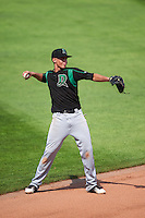 Dayton Dragons shortstop Luis Gonzalez (2) throws to first during a game against the Cedar Rapids Kernels on July 24, 2016 at Perfect Game Field in Cedar Rapids, Iowa.  Cedar Rapids defeated Dayton 10-6.  (Mike Janes/Four Seam Images)
