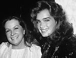 Brooke Shields photographed with mother Teri Shields in New York City. 1982.