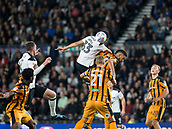 8th September 2017, Pride Park Stadium, Derby, England; EFL Championship football, Derby County versus Hull City; Curtis Davies of Derby County gets above Michael Hector of Hull City to head the ball