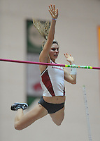NWA Democrat-Gazette/ANDY SHUPE<br /> Arkansas sophomore Victoria Weeks clears the bar as she competes in the pole vault Saturday, Feb. 11, 2017, during the Tyson Invitational in the Randal Tyson Track Center in Fayetteville. Visit nwadg.com/photos to see more photographs from the meet.