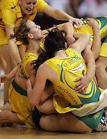 16.11.2007 Australia celebrates after the Silver Ferns v Australia Final at the New World Netball World Champs held at Trusts Stadium Auckland New Zealand. Mandatory Photo Credit ©Michael Bradley.