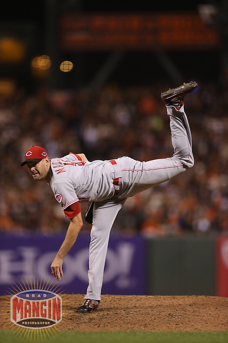 SAN FRANCISCO - OCTOBER 6:  Sean Marshall of the Cincinnati Reds pitches during Game 1 of the NLDS against the San Francisco Giants at AT&T Park on October 6, 2012 in San Francisco, California. (Photo by Brad Mangin)
