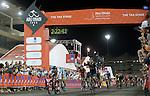 Elia Viviani (ITA) Team Sky just pips World Champion Peter Sagan (SVK) Tinkoff-Saxo to win Stage 4, The Yas Stage, of the 2015 Abu Dhabi Tour running 110 km 20 laps around the Yas Marina Circuit, Abu Dhabi. 11th October 2015.<br /> Picture: ANSA/Claudio Peri | Newsfile
