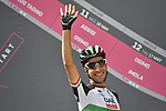 Italian National Champion Fabio Aru (ITA) UAE Team Emirates at sign on before the start of Stage 9 of the 2018 Giro d'Italia, running 225km from Pesco Sannita to Gran Sasso d'Italia (Campo Imperatore), this year's Montagna Pantani, Italy. 13th May 2018.<br /> Picture: LaPresse/Gian Mattia D'Alberto | Cyclefile<br /> <br /> <br /> All photos usage must carry mandatory copyright credit (&copy; Cyclefile | LaPresse/Gian Mattia D'Alberto)