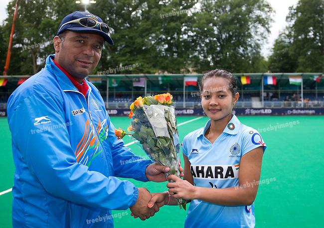 23/06/2015<br /> HWL Semi Final Antwerp Belgium 2015<br /> New Zealand v India Women<br /> Sushila Pukhrambam<br /> Photo: Grant Treeby