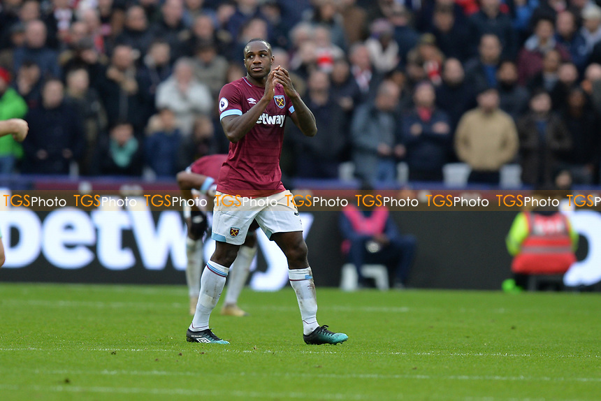 Michail Antonio of West Ham United is substituted during West Ham United vs Arsenal, Premier League Football at The London Stadium on 12th January 2019