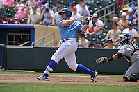 Omaha Storm Chasers Balbino Fuenmayor (15) swings during the game against the El Paso Chihuahuas at Werner Park on May 30, 2016 in Omaha, Nebraska.  El Paso won 12-0.  (Dennis Hubbard/Four Seam Images)