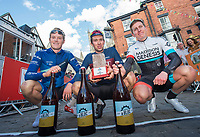 Picture by Allan McKenzie/SWpix.com - 15/04/17 - Cycling - HSBC Spring Cup Road Series - 2017 Chorley Grand Prix - Chorley, England - Rory Townsend, Ian Bibby & Matthew Holmes at the finish line after the Lincoln Grand Prix.