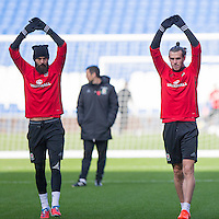 Joe Ledley and Gareth Bale during a Wales Training Session at Cardiff City Stadium ahead of the FIFA World Cup Qualification match against Serbia, Cardiff, Wales on 11 November 2016. Photo by Mark  Hawkins.
