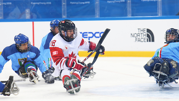 Pyeongchang, Korea, 11/3/2018-Billy Bridgesof Canada plays Italy in hockey during the 2018 Paralympic Games in PyeongChang. Photo Scott Grant/Canadian Paralympic Committee.