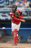 Batavia Muckdogs catcher Rodrigo Vigil (27) throws down to third after a strikeout during a game against the Williamsport Crosscutters on July 27, 2014 at Dwyer Stadium in Batavia, New York.  Batavia defeated Williamsport 6-5.  (Mike Janes/Four Seam Images)
