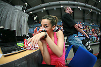 Almudena Cid of Spain receives gift of a braclet from fans at 2007 Portimao World Cup of Rhythmic Gymnastics on April 28, 2006.  (Photo by Tom Theobald)..