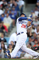 Rod Barajas #28 of the Los Angeles Dodgers bats against the San Francisco Giants at Dodger Stadium in Los Angeles,California on April 3, 2011. Photo by Larry Goren/Four Seam Images