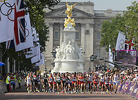 12.08.2012. London, England. Athletes compete in the mens  Marathon Competition  London 2012 Olympic Games Stephen Kiprotich of Uganda Won Gold Medal