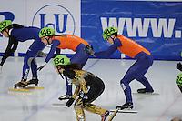 SCHAATSEN: DORDRECHT: Sportboulevard, Korean Air ISU World Cup Finale, 11-02-2012, Relay Women, Sanne van Kerkhof NED (146), Jorien ter Mors NED (144), ©foto: Martin de Jong
