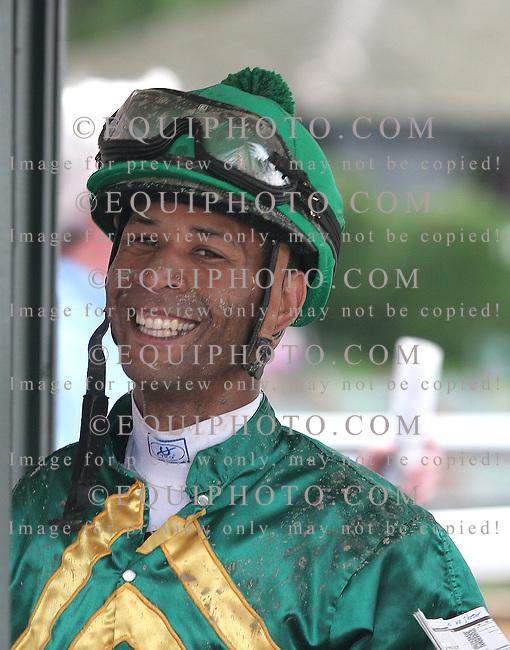Jockey Kendrick Carmouche at Parx Racing in Bensalem, Pennsylvania May 22, 2012.  Photo By Alyssa Spakowski/EQUI-PHOTO.
