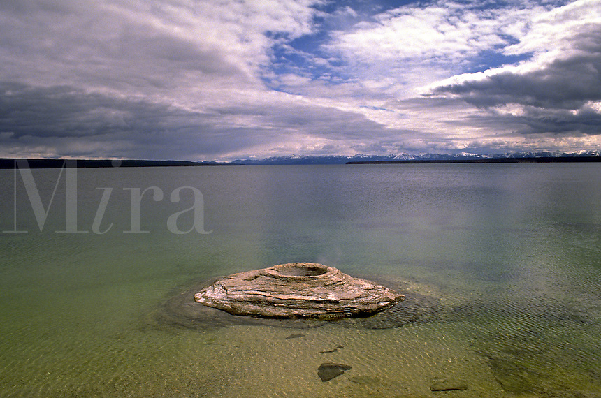 Big Cone , a thermal cone in Yellowstone Lake, Yellowstone National Park, Wyoming. Wyoming, Yellowstone National Park.