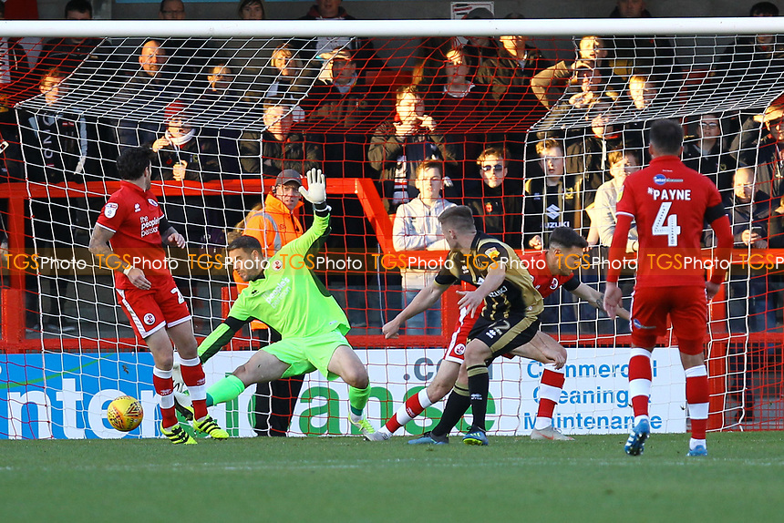 Rhys Healey of MK Dons scores the third goal for his team during Crawley Town vs MK Dons, Sky Bet EFL League 2 Football at Broadfield Stadium on 3rd November 2018