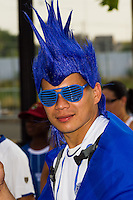 El Salvador fan prior to a CONCACAF Gold Cup group B match at Red Bull Arena in Harrison, NJ, on July 8, 2013.