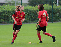 20200627 - TUBIZE , Belgium : Jarne Teulings (left) and Sari Kees (right) are pictured during a training session of the Belgian Red Flames U19, on the 27 th of June 2020 in Tubize.  PHOTO SEVIL OKTEM| SPORTPIX.BE
