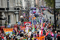 London, 18/10/2014. Today, more than 100,000 people gathered in central London to attend the TUC's march called &quot;Britain Needs A Pay Rise&quot;. The aim of the demonstration was to support the Trades Union Congress campaign to raise the minimum wage, give higher wages to employees, to finally commit to put in place the &quot;Living Wage&quot; and to fight the constantly rising inequality. The demonstration was supported by all the major British Trade Unions. It started on Victoria Embankment and ended with a rally in Hyde Park.<br />