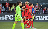 Portland, OR - Sunday Sept. 11, 2016: Nadia Nadim celebrates scoring during a regular season National Women's Soccer League (NWSL) match between the Portland Thorns FC and the Western New York Flash at Providence Park.
