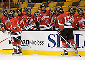 Jim Driscoll (NU - 4), Dennis McCauley (NU - 12) - The Northeastern University Huskies defeated the Harvard University Crimson 3-1 in the Beanpot consolation game on Monday, February 12, 2007, at TD Banknorth Garden in Boston, Massachusetts.