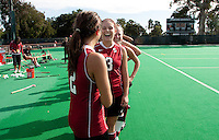 STANFORD, CA - November3, 2011: Julia LaSalvia and Hope Burke enjoy a moment before the first day of NorPac Championship at the Varsity Turf on the Stanford campus Thursday afternoon.<br /> <br /> <br /> Stanford defeated Appalachian State 7-0.