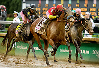 LOUISVILLE, KY - MAY 05: Abel Tasman #13, ridden by Mike Smith, winning the Kentucky Oaks on Kentucky Oaks Day at Churchill Downs on May 5, 2017 in Louisville, Kentucky. (Photo by Candice Chavez/Eclipse Sportswire/Getty Images)