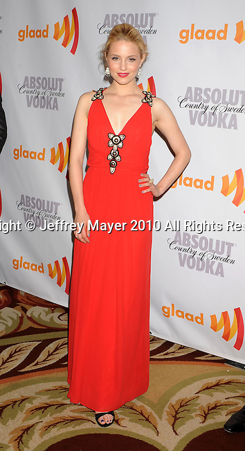 CENTURY CITY, CA. - April 17: Dianna Agron arrives at the 21st Annual GLAAD Media Awards at the Hyatt Regency Century Plaza Hotel on April 17, 2010 in Los Angeles, California.
