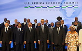 United States President Barack Obama takes part in the family photo at the Africa Leaders Summit, standing in between Mohamed Ould Abdel Aziz, President of the Islamic Republic of Mauritania (3rd Left) and Hifikepunye Pohamba, President of the Republic of Namibia (2nd Right), at the State Department in Washington DC, August 6, 2014. Obama is promoting business relationships between the United States and African countries during the three-day U.S.-Africa Leaders Summit, where 49 heads of state are meeting in Washington. <br /> Credit: Molly Riley / Pool via CNP