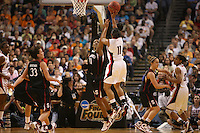 6 April 2008: Stanford Cardinal Candice Wiggins, Jillian Harmon, and JJ Hones during Stanford's 82-73 win against the Connecticut Huskies in the 2008 NCAA Division I Women's Basketball Final Four semifinal game at the St. Pete Times Forum Arena in Tampa Bay, FL.