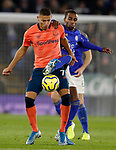 Ricardo Pereira of Leicester City tackles Richarlison of Everton during the Premier League match at the King Power Stadium, Leicester. Picture date: 1st December 2019. Picture credit should read: Darren Staples/Sportimage