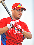 9 March 2011: Philadelphia Phillies' infielder Carlos Rivero awaits his turn in the batting cage prior to a Spring Training game against the Detroit Tigers at Joker Marchant Stadium in Lakeland, Florida. The Phillies defeated the Tigers 5-3 in Grapefruit League play. Mandatory Credit: Ed Wolfstein Photo