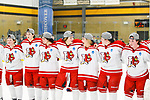ADRIAN, MI - MARCH 18: Plattsburgh State University line up during the trophy presentation after winning the Division III Women's Ice Hockey Championship held at Arrington Ice Arena on March 19, 2017 in Adrian, Michigan. Plattsburgh State defeated Adrian 4-3 in overtime to repeat as national champions for the fourth consecutive year. by Tony Ding/NCAA Photos via Getty Images)