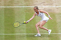 Magdalena Rybarikova of Slovakia in action during her defeat by Garbine Muguruza (14) of Spain in their Ladies' Singles Semi Final Match today - Muguruza def Rybarikova 6-1, 6-1<br /> <br /> Photographer Ashley Western/CameraSport<br /> <br /> Wimbledon Lawn Tennis Championships - Day 10 - Thursday 13th July 2017 -  All England Lawn Tennis and Croquet Club - Wimbledon - London - England<br /> <br /> World Copyright &not;&uml;&not;&copy; 2017 CameraSport. All rights reserved. 43 Linden Ave. Countesthorpe. Leicester. England. LE8 5PG - Tel: +44 (0) 116 277 4147 - admin@camerasport.com - www.camerasport.com