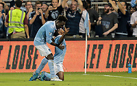 Kansas City, KS - Wednesday September 20, 2017: 	Latif Blessing scores during the 2017 U.S. Open Cup Final Championship game between Sporting Kansas City and the New York Red Bulls at Children's Mercy Park.