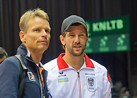 15-sept.-2013,Netherlands, Groningen,  Martini Plaza, Tennis, DavisCup Netherlands-Austria, Captan Jan Siemerink(L) (NED) end   Jurger Melzer(AUT)<br /> Photo: Henk Koster