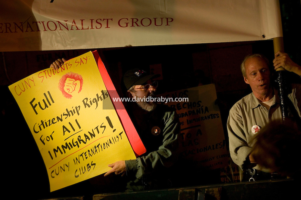 4 October 2006 - New York City, NY - Members of the student organisation the Chicano Caucus of Columbia University protest outside the University in New York City, USA, against the presence of Jim Gilchrist, founder of the anti-immigration Minuteman Project organisation, who was to give a speech to the College Republicans, 4 October 2006. Gilchrist's speech was disrupted by students after a few minutes and he was forced to leave the stage.