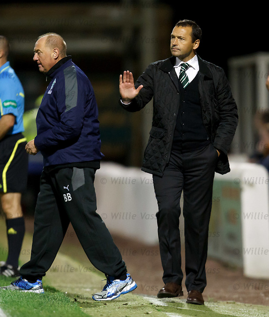 Colin Calderwood and Billy Brown tell their Hibs men to calm down