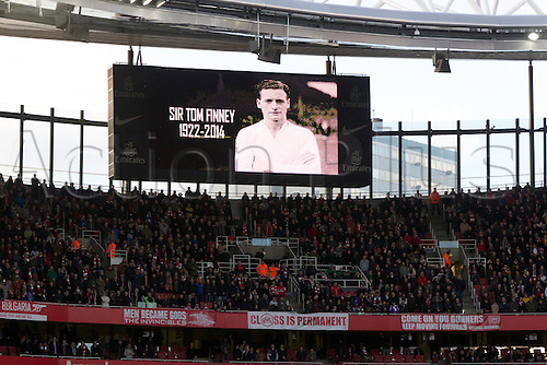 16.02.2014 London, England.  A minutes silence was observed for legend Sir Tom Finney who sadly passed away before the FA Cup 5th Round game between Arsenal and Liverpool from the Emirates Stadium.