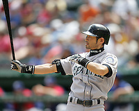 Seattle Mariners OF Ichiro Suzuki against the Texas Rangers on May 14th, 2008 at Texas Rangers Ball Park. Photo by Andrew Woolley / Four Seam Images.